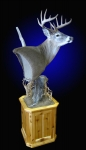 Whitetail Deer, Pedestal Mount on Rustic Cedar Base